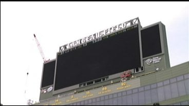 One of the large high-definition screens being installed at Lambeau Field