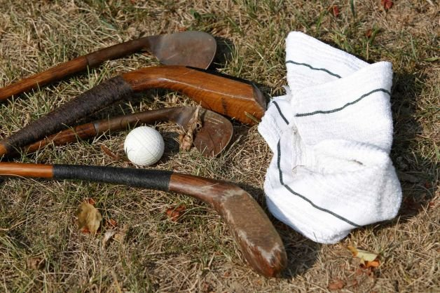 AP photo: Wooden clubs and gutta percha ball at Oakhurst Links, one of the first golf courses in the U.S.