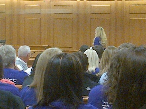 Sherry Hougom addresses the court during sentencing.