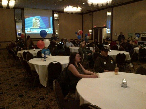 Democrats gather at the Radisson Hotel for their watch party
