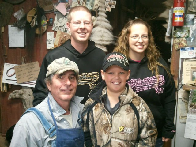 Jerry Shepard and the Flock Family at Shep's Taxidermy in Onalaska