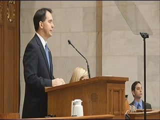 Gov. Walker giving the State of the State speech Tuesday night in Madison