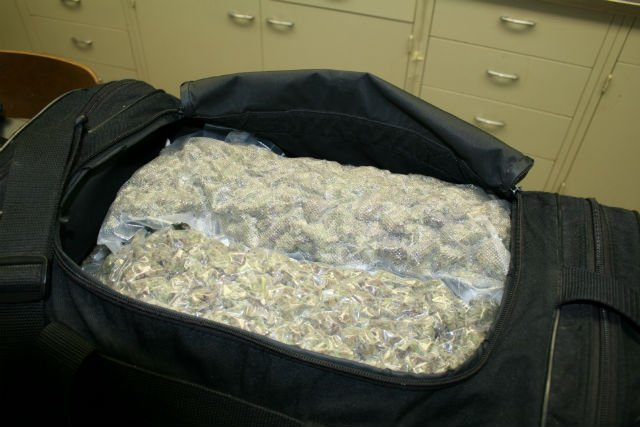 Police photo of marijuana found in Dudenbostel's bag.