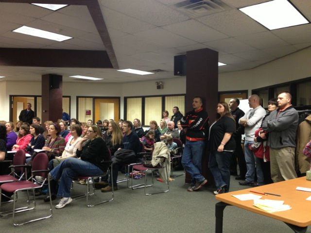 Audience at Tuesday's Sparta School Board meeting