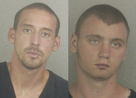 James Newman, left, and James Misleveck, right, following their capture in Florida in 2012