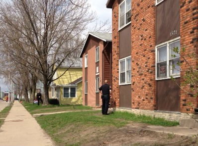 La Crosse Police officers at the scene of a shots fired call at 1321 S. 4th Street Wednesday afternoon.