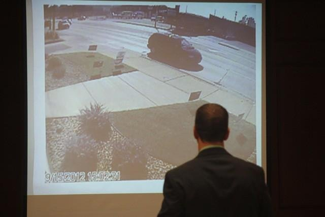 Picture of the van believed used by Lepsch to leave the scene of the homicides. DA Tim Gruenke presented this and several other videos and photos to the jury.