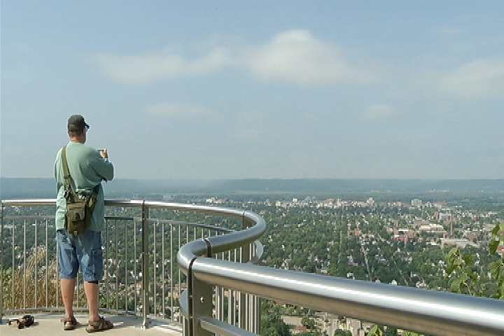 Looking out over La Crosse from the rebuilt overlook.