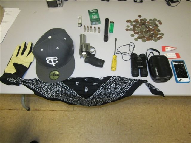 Some of the evidence found when police arrested the burglary suspects