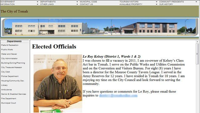 Image from the City of Tomah website with Kelsey's picture.  He is no longer on the Tomah City Council