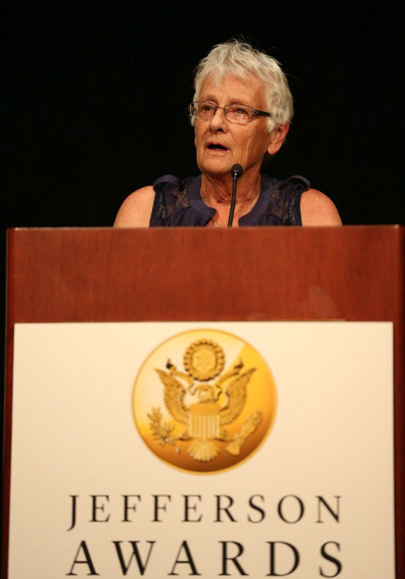 Karen Vogt speaking at the national Jefferson Awards banquet in Washington June 17, 2014