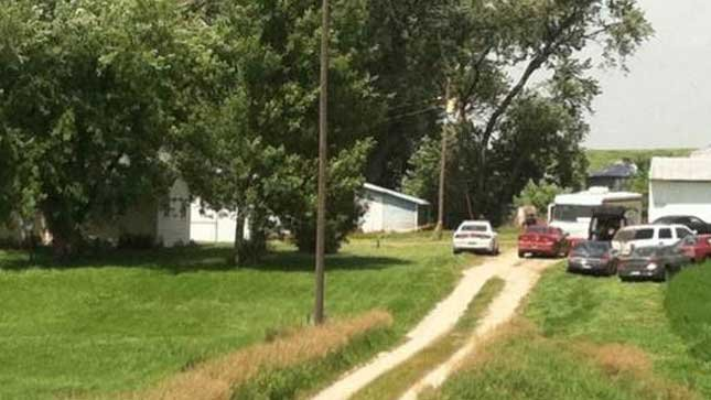 Home in Iowa where two bodies were discovered.
