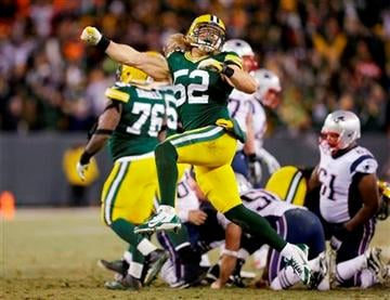 (AP Photo/Tom Lynn). Green Bay Packers' Clay Matthews celebrates after the New England Patriots missed a field goal attempt during the second half of an NFL football game Sunday, Nov. 30, 2014, in Green Bay, Wis.