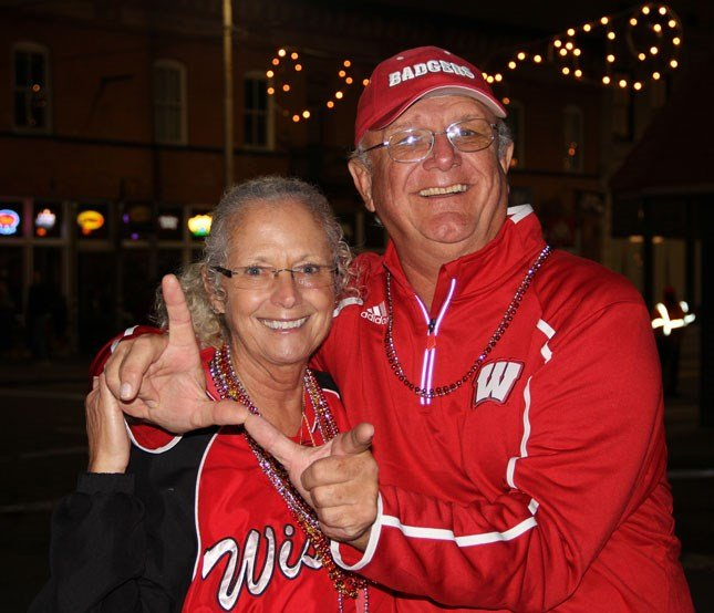 John and Ellen Jonscher at the pep rally in Ybor City on December 31.
