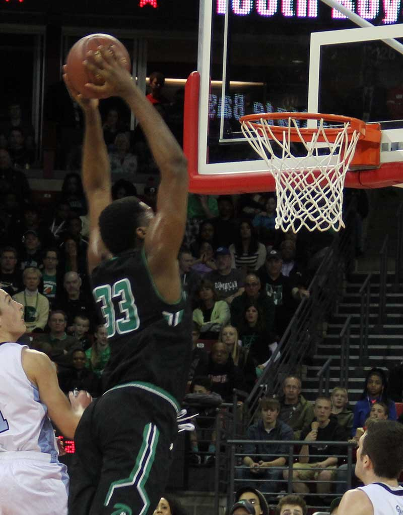 Diamond Stone goes in for a dunk during the game against Mineral Point in the Division 4 state championship