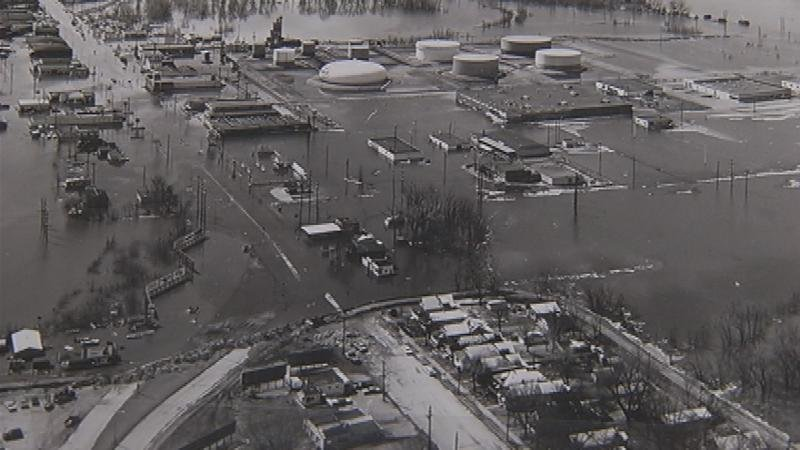 Aerial view of the Causeway area flooded in 1965