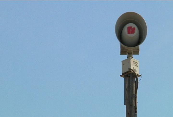 A tornado siren in the city of La Crosse