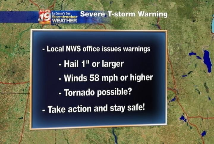 NWS Criteria for issuing a Severe Thunderstorm Warning