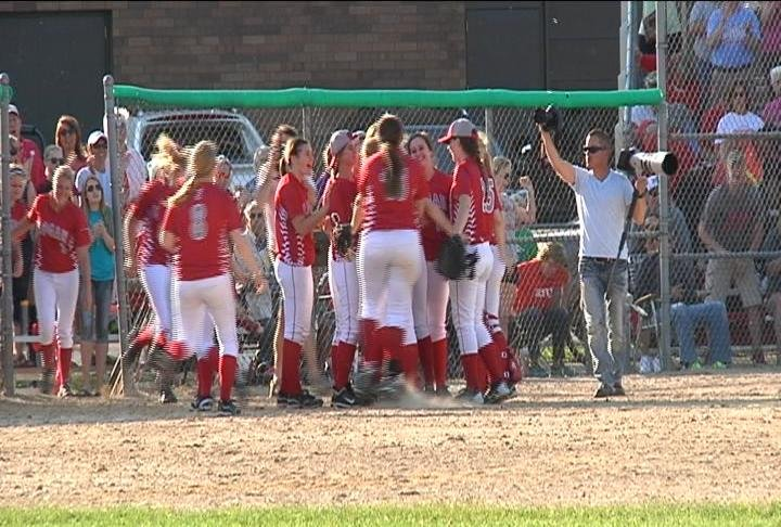 Logan softball celebrates after defeating Mosinee 2-1 Tuesday in the division 2 sectional semifinals.
