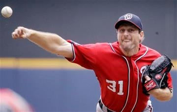 (AP Photo/Morry Gash). Washington Nationals starting pitcher Max Scherzer throws during the seventh inning of a baseball game against the Milwaukee Brewers Sunday, June 14, 2015, in Milwaukee.