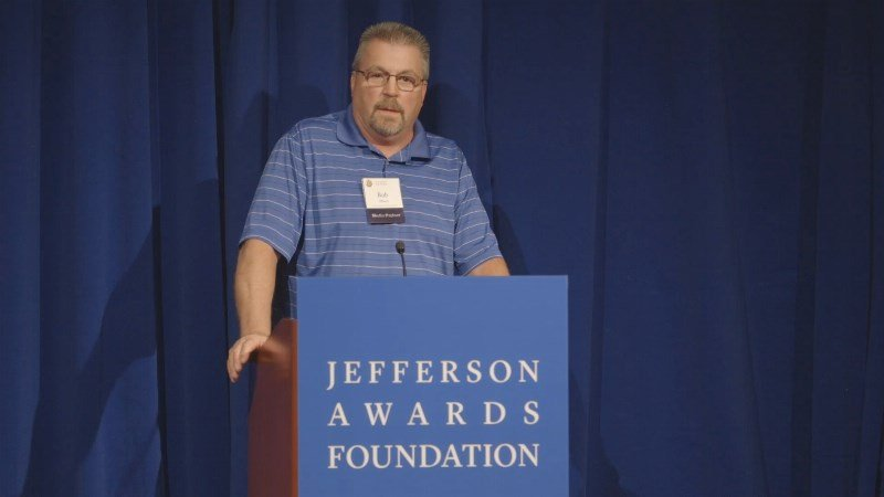 Bob Milisch speaking in Washington at the national Jefferson Awards ceremonies
