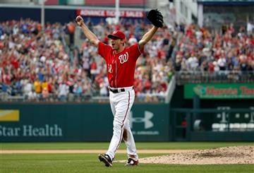 Washington Nationals starting pitcher Max Scherzer celebrates after his no-hitter baseball game against the Pittsburgh Pirates at Nationals Park, Saturday, June 20, 2015, in Washington. The Nationals won 6-0.