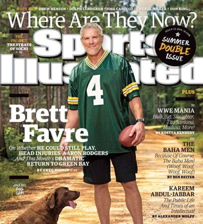 Brett Favre on the cover of Sports Illustrated