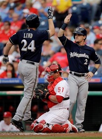 Milwaukee Brewers' Adam Lind (24) and Scooter Gennett (2) celebrate next to Philadelphia Phillies catcher Carlos Ruiz (51) after Lind's two-run home run off starting pitcher Aaron Harang during the first inning Wednesday.