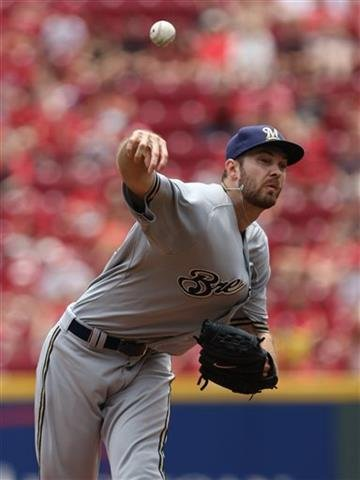 Milwaukee Brewers starting pitcher Taylor Jungmann throws against the Cincinnati Reds during the first inning of a baseball game Sunday, July 5, 2015, in Cincinnati.