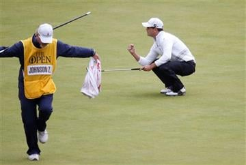 (AP Photo/Alastair Grant). United States' Zach Johnson gets a birdie on the 18th during the final round at the British Open Golf Championship at the Old Course, St. Andrews, Scotland, Monday, July 20, 2015.