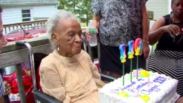 Agnes Fenton celebrating her 110th birthday