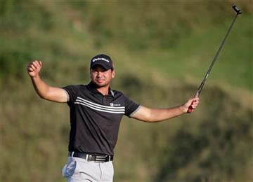 Jason Day, of Australia, celebrates after winning the PGA Championship golf tournament Sunday, Aug. 16, 2015, at Whistling Straits in Haven, Wis.