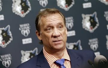 (AP Photo/Jim Mone, File). FILE - In this June 25, 2015, file photo, Minnesota Timberwolves president and coach Flip Saunders addresses members of the media during an NBA basketball news conference in Minneapolis.