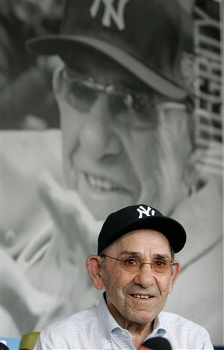 (AP Photo/Rich Schultz, File). File-This July 13, 2010, file photo shows former New York Yankees great Yogi Berra remarking about the passing of Yankees owner George Steinbrenner from his museum in Montclair, N.J.
