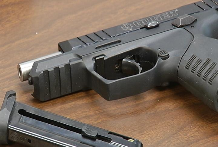 A handgun seized during the arrest of John P. Vang in the Town of Holland on October 20