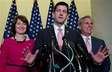 (AP Photo/Carolyn Kaster). Rep. Paul Ryan, R-Wis., flanked by Rep. Cathy McMorris Rodgers, R-Wash., left, and House Majority Leader Kevin McCarthy of Calif., speaks during a news conference on Capitol Hill in Washington, Wednesday, Oct. 28, 2015.