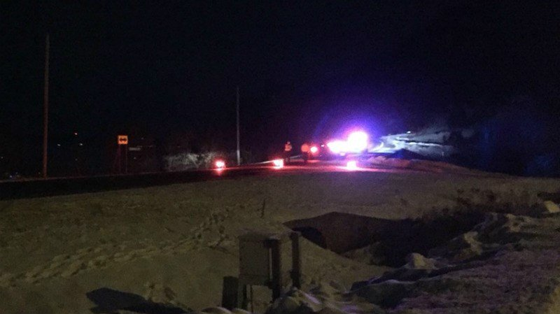 Authorities block MN State Highway 26 near Shellhorn Rd. following the derailment of six cars Tuesday night.