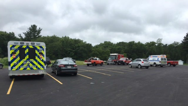 Searchers gather near Stevenstown in their efforts to locate an overdue airplane.