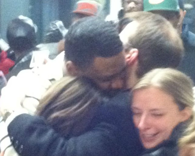 Mitrel Anderson hugging family and friends after his acquittal in his homicide trial.