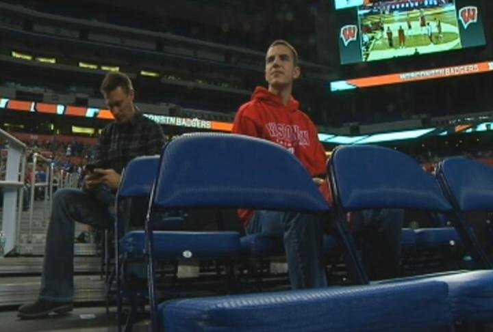 Alex Hayden, right, is one of 15 student managers this season for Wisconsin basketball.
