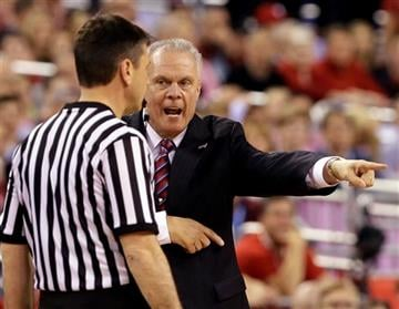(AP Photo/Charlie Neibergall). Wisconsin head coach Bo Ryan argues a call with a referee during the first half of the NCAA Final Four college basketball tournament championship game against Duke Monday, April 6, 2015, in Indianapolis.